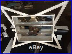 Rare Old Mid Century Modern Shadow Box Mirror Wall Shelf Display 38 x 33 x 4