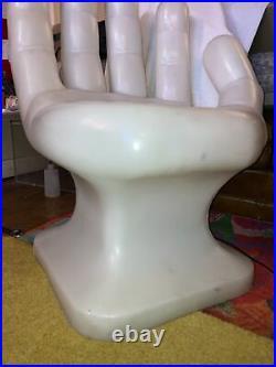 Rare Original 1970s MCM Plastic Hand Chair White Sturdy Full Size 35 Tall