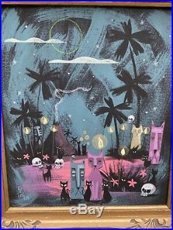 Rare Original EL GATO GOMEZ PAINTING MID CENTURY MODERN ATOMC Tiki CATS FRAMED