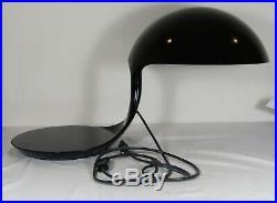Rare Original Total Black 1960's Elio Martinelli Luce Cobra Lamp, MID Century