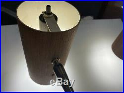 Rare Pair VTG MCM Modern Oscillating Brass Wood Cylinder Wall Sconce Fixtures