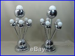 Rare Pair of Mid Century Modern Italian Chrome Sputnik Lamps by Torino Lamp Co