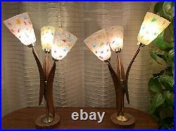 Rare Pair of Vtg MCM Chunky Spaghetti Lucite Teak Tulip Lamps