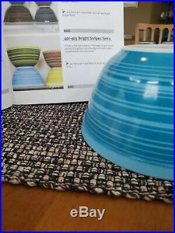 Rare Pyrex 402 Black & Red Stripes/Blue & Bright Stripes Terra Bowls. Set of 2