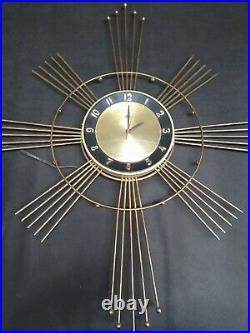 Rare Robertshaw-Fulton Atomic Starburst Brass Clock Mid century modern vintage