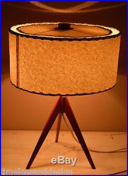 Rare Scandinavian Tripod Table Lamp Teak Brass Bast Fiber Shade Mid Century