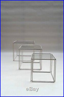 Rare Set Nesting Tables ISOCELE by Max Sauze 60s-70s kjaerholm eames knoll era