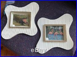 Rare Set Of 2 VTG Shadow Box Mid Century Atomic Frame Retro 50s Picture Art