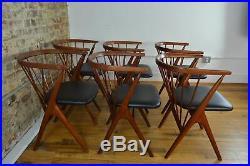 Rare Set of 6 Helge Sibast No. 8 Danish Mid Century Modern Teak Dining Chairs