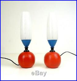 Rare Stunning Pair Vintage MID Century Memphis Sottsass 2 Table Lamps 80s