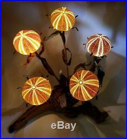 Rare VTG Curtis Jere Urchin Brutalist Wood Copper Flowers Lamp 5-Light Sculpture