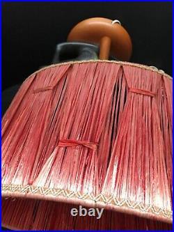 Rare Vint Barsony Lamp Modernist Black Lady Lava Dress Raffia Shade Wooden Base