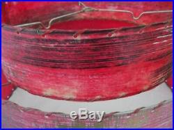 Rare Vintage 1950s RED Two Tier Fiberglass Lamp Shade Mid Century Modern Atomic
