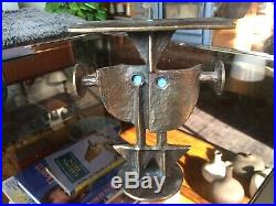 Rare Vintage 1960s Brutalist / Modernist Bronze Figural Candlestick by PAPZ No. 2