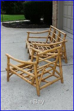 Rare Vintage Calif Asia MCM MID Century Modern Bamboo Rattan Lounge Sofa Chair