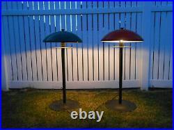 Rare Vintage Mid Century Modern Atomic Outdoor Electric Patio Lights Pair