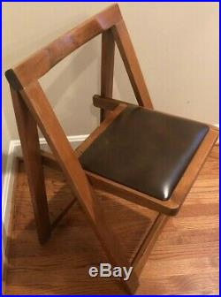 Rare Vintage Mid Century Modern Danish Style Wooden Folding Chair Leather Seat