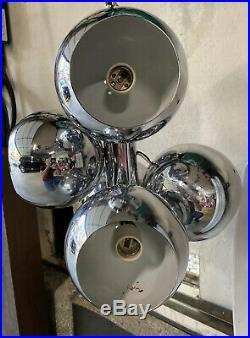 Rare Vintage Mid-Century Modern Space Age, Hanging, Chrome Sputnik Eyeball Lamp