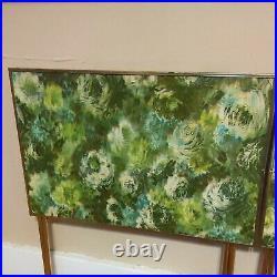 Rare Vintage Mid Century Modern TV Trays & Cart Monet Like Floral Set Of 4 MCM