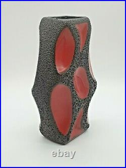 Rare Vintage Mid-Century Modern West German Roth Fat Lava Vase Lozenge 309 Red