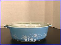 Rare Vintage Pyrex 471 DIANTHUS SALES TEST PATTERN BLUE Casserole 1963