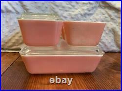 Rare Vintage Pyrex PINK 6 Piece Refrigerator Dish Set