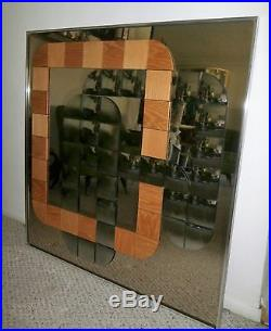 Rare Vintage Retro Mid Century MODern HAL BIENENFELD Wood Squares Op Art Mirror