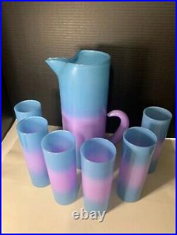 Rare Vintage WV Blendo Glass Cocktail Pitcher Set Blue Purple Bermuda Twist MCM