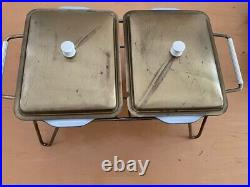 Rare Vntg Pyrex 503 Rodney Kent Black and Brass Tone Double Dishes Wire Warmer