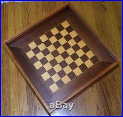 Rare Vtg MCM John Keal for Brown Saltman Game Chess Box Side Table Walnut Birch