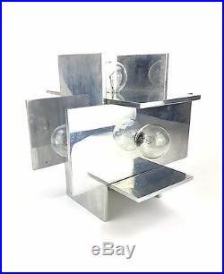 Rare Vtg Paul Mayen Habitat Mid Century Modern Geometric Aluminum Planed Lamp