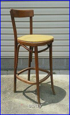 Rare antique bent wood Cafe Chair Thonet Vtg Mid Century Stool Shop Diner Bar