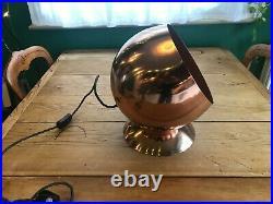 Rare copper mirror ball globe floor lamp with cord flex, Tom Dixon style