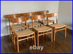 Rare original set of six (6) teak dining chairs Hans J. Wegner CH23 circa 1950's