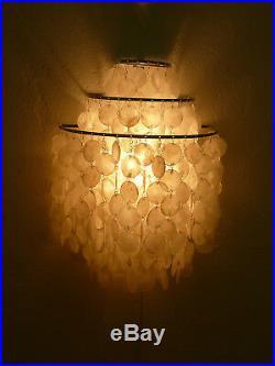 Rare original vintage FUN 1 WM shell lamp by VERNER PANTON for LUBER 60ies NOS