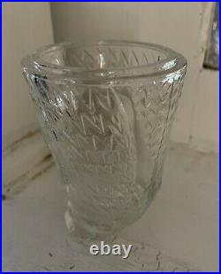SOO RARE Viking GLASS OWL FAIRY LIGHT Clear CRYSTAL Color 1960s Candle