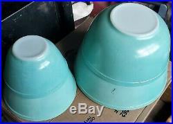 Set 4 Vintage Pyrex HTF Turquoise Nesting Mixing Bowls #401 #402 #403 #404 RARE