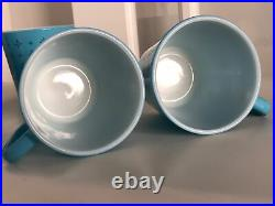 Set 4 Vintage Pyrex Mug Foulard Pattern Turquoise Blue Atomic Star Burst RARE