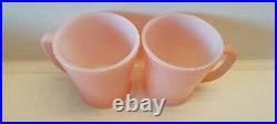Set of 4 VINTAGE FIRE KING PINK D HANDLE MUGS, RARE ANCHOR HOCKING, FIRE KING USA