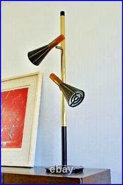Stiffel Loewy Vtg Mid Century Modern Brass Cone Pole Lamp Lightolier Laurel Rare