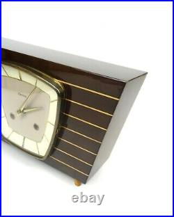 Stunning Very Rare Original 50s MID Century Table Clock By Hermle Germany