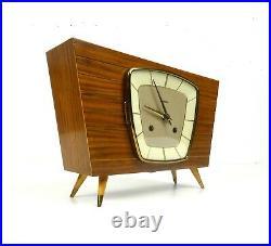 Stunning Very Rare Original 50s MID Century Teak Table Clock By Hermle Germany