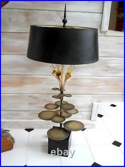 Super Rare Maison Jansen Bronze Calla Lily Pad Raindrops Table Lamp Jere