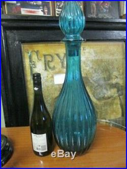 Super Rare Retro Vintage Turquoise Blue Glass Genie Bottle Decanter