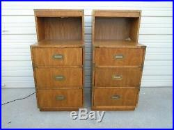 Tall Pair Rare Campaigner Dixie Nightstands 2 Bed Tables Mid-century Modern MCM