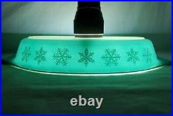 ULTRA RARE Pyrex Turquoise LARGE SNOWFLAKE Divided Dish EXCELLENT White Blue