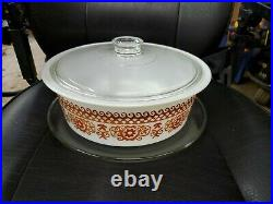 VERY RARE Pyrex 664 Big Bertha 4 Qt. Casserole WithLid and Tray Never Released