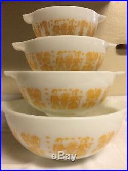 VIntage RARE Pyrex Orange Yellow Amish Butterprint Cinderella Bowls Set (4)