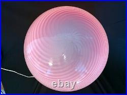 Very Rare Pink Tall 24 Vetri Murano Egg Mushroom Table Lamp Glass