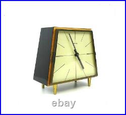 Very Rare Stunning MID Century Modernism Table Clock Vintage 1960 By Hermle